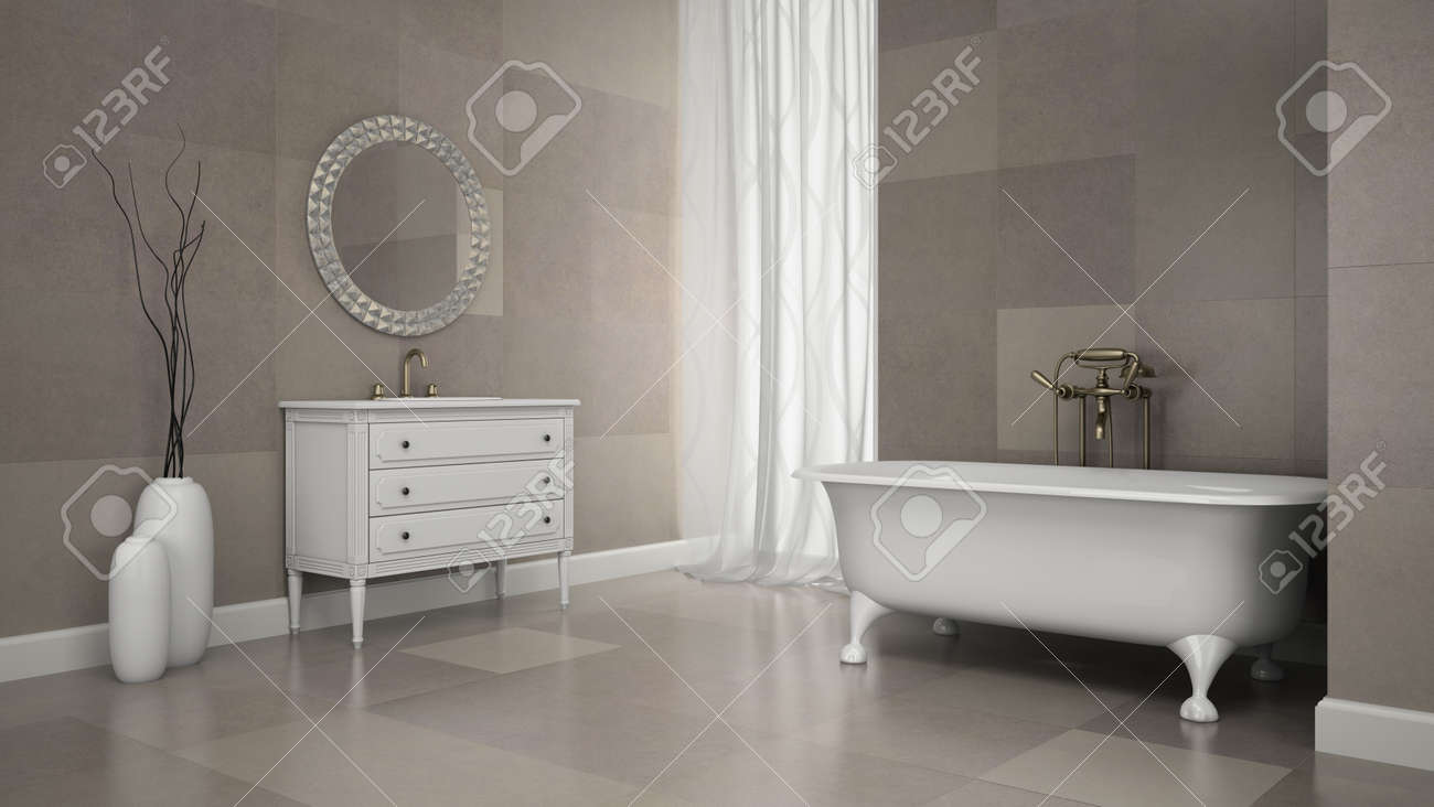 Interior Of Classic Bathroom With Gray Tiles Wall 3D Rendering Stock ...