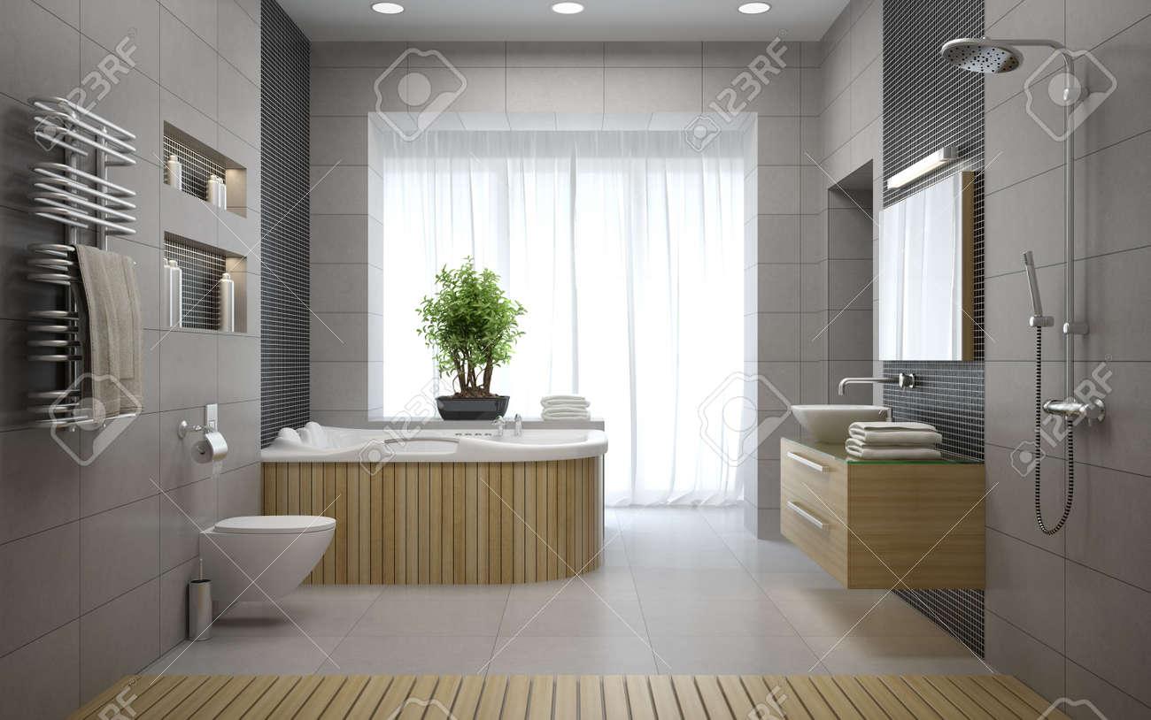 Interior Of The Modern Design Bathroom 3D Rendering Stock Photo ...