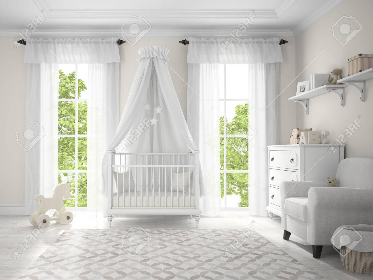 Classic children room with cradle 3D rendering Stock Photo - 57656246