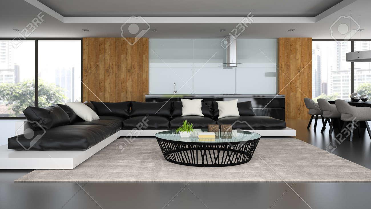 Intérieur loft design moderne avec un canapé noir rendu d banque