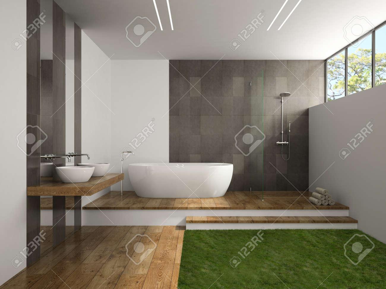 interno del bagno con il rendering 3d piano erba foto royalty free ... - Arredo Bagno Erba