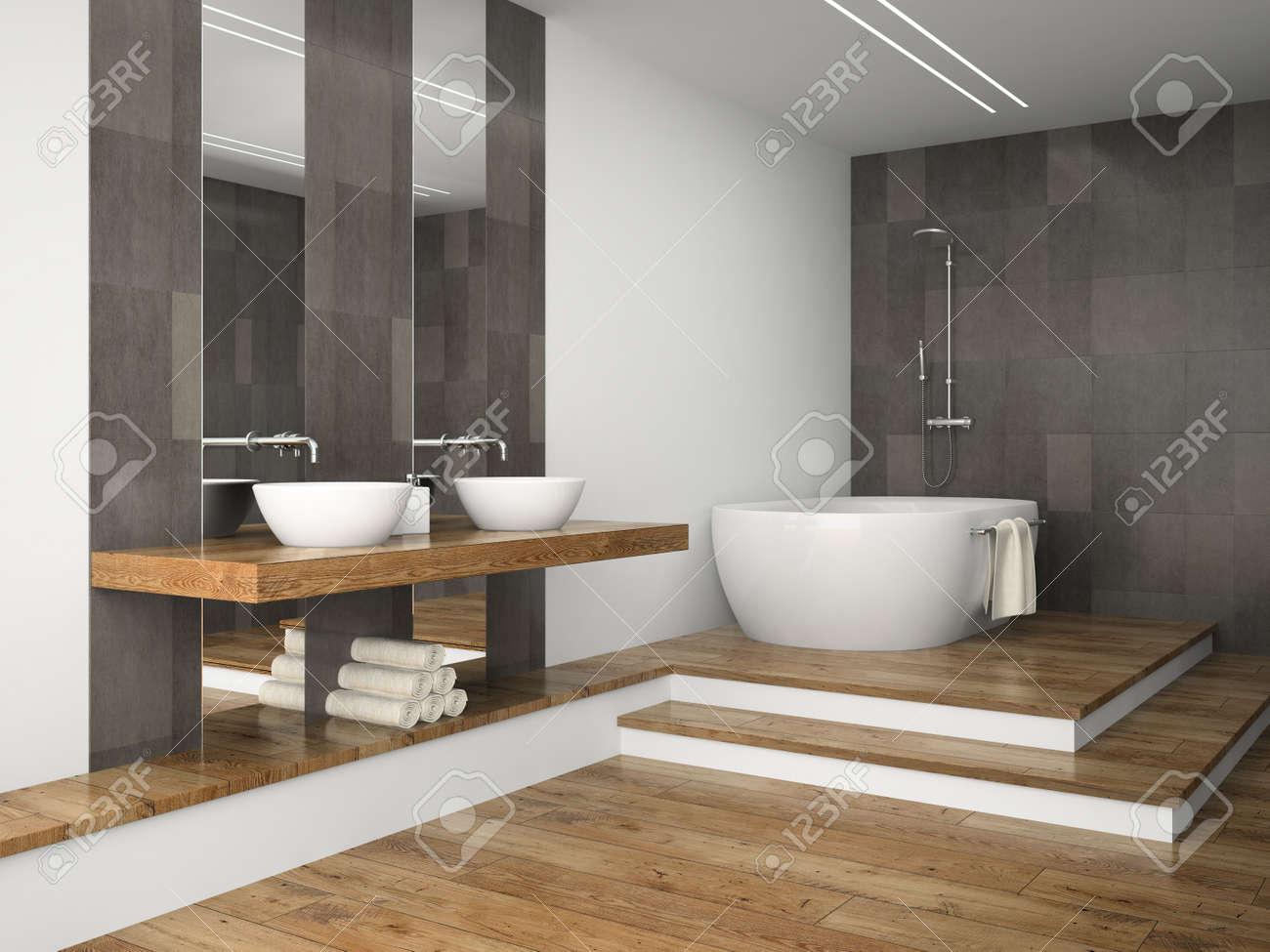 Salle De Bain Avec Bois intérieur de salle de bain avec plancher en bois rendu 3d