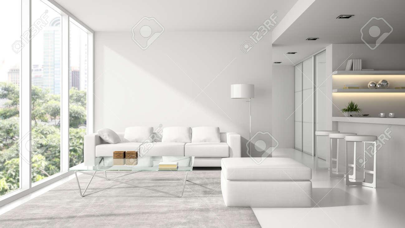 Interior of the modern design loft in white 3D rendering - 57655970