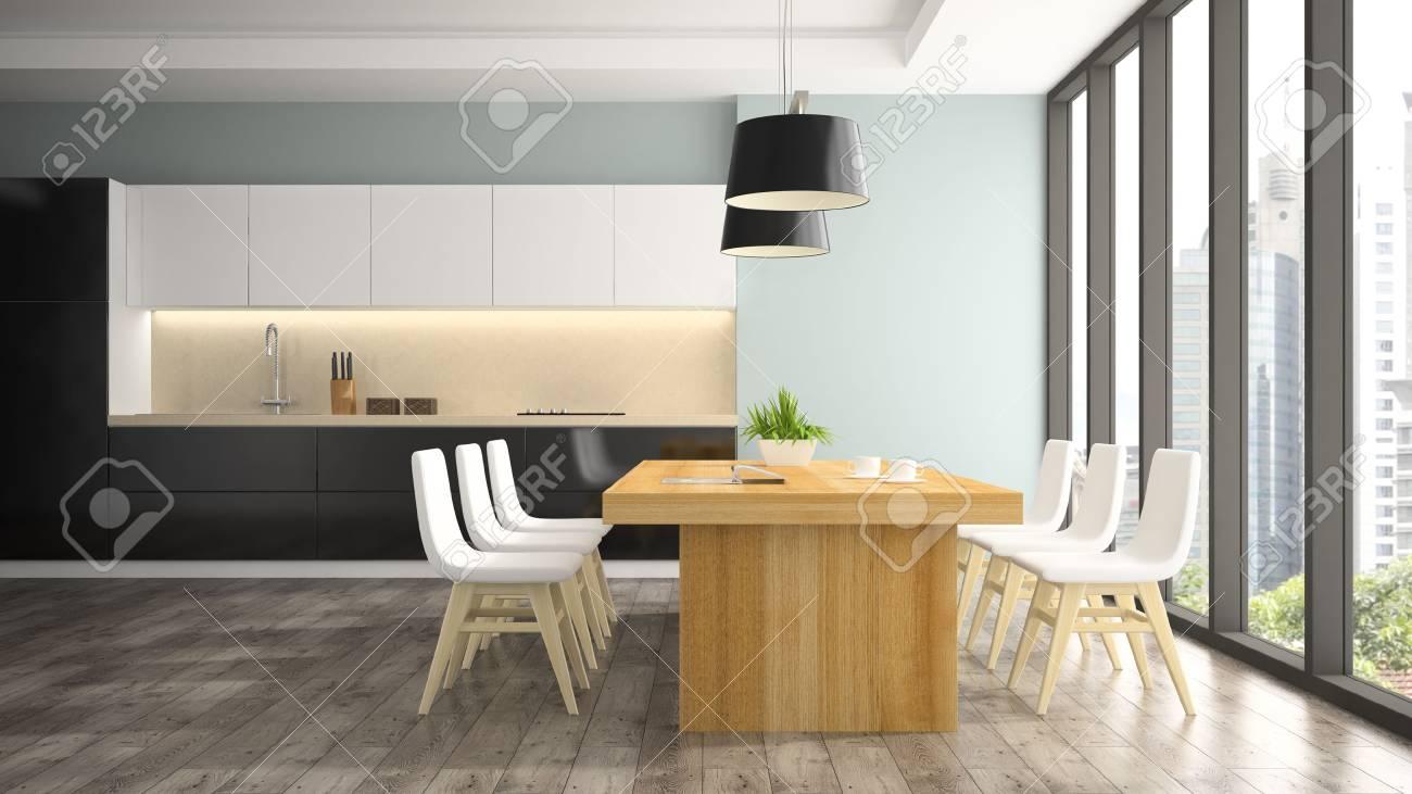 Moderne interieur van eetkamer met witte stoelen d rendering