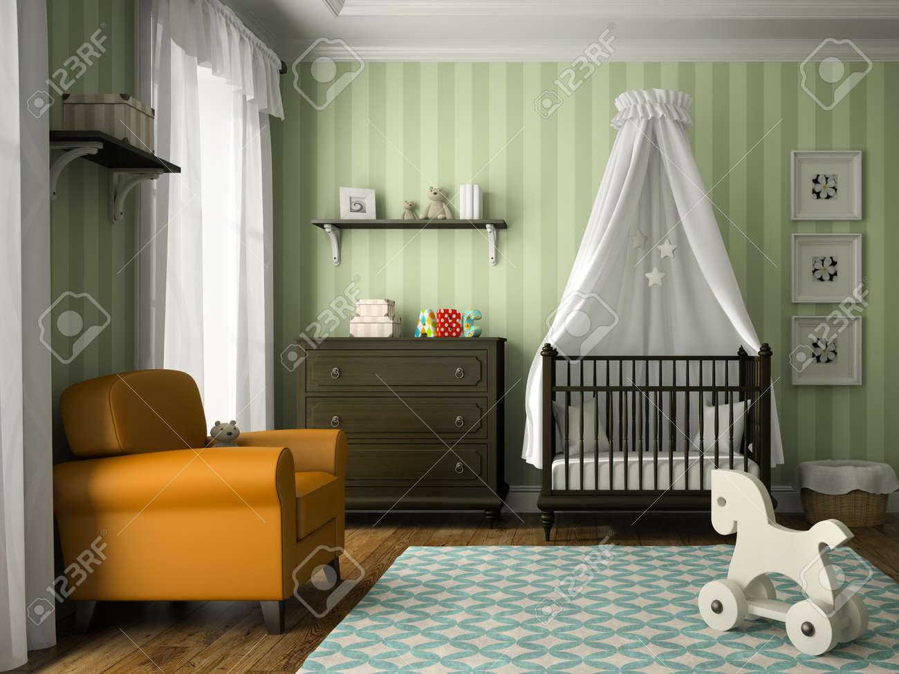 Hochwertig Klassische Kinderzimmer Mit Grünen Streifen Wand 3D Rendering Standard Bild    57655674