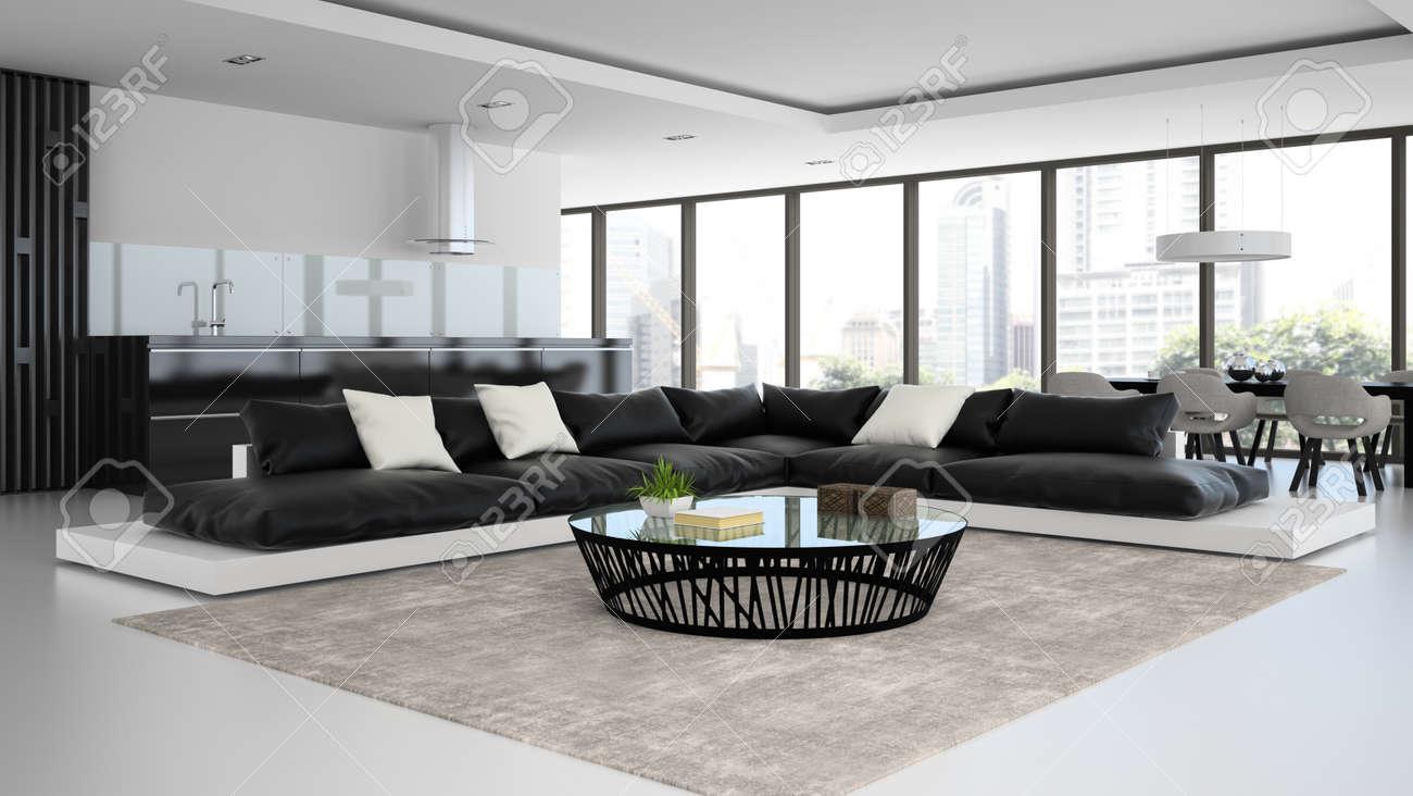 Interieur Chambre Design Moderne Avec Canapes En Noir Et Blanc Rendu 3d
