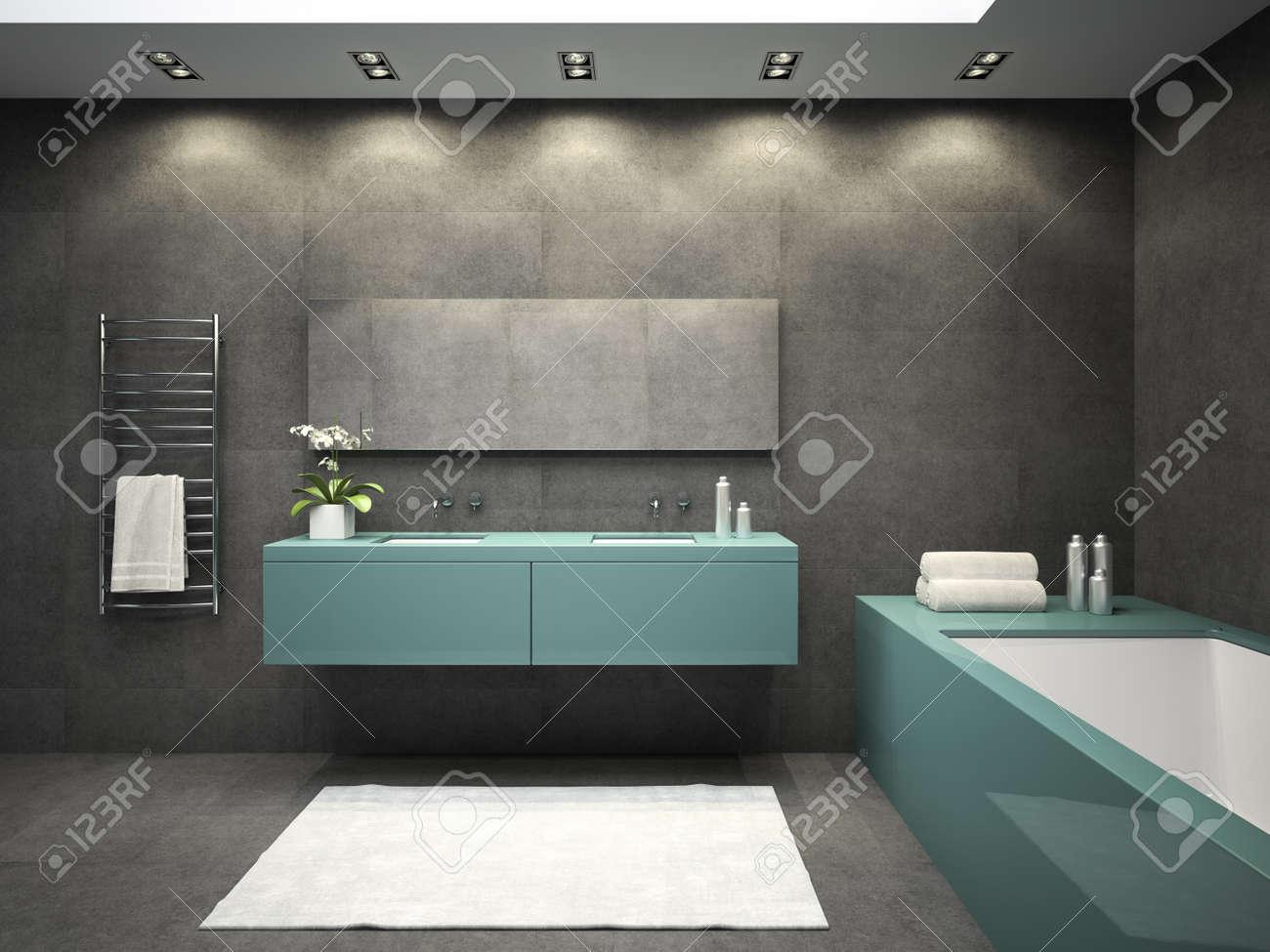 inter der badezimmer mit decke fenster 3d-rendering lizenzfreie, Badezimmer ideen