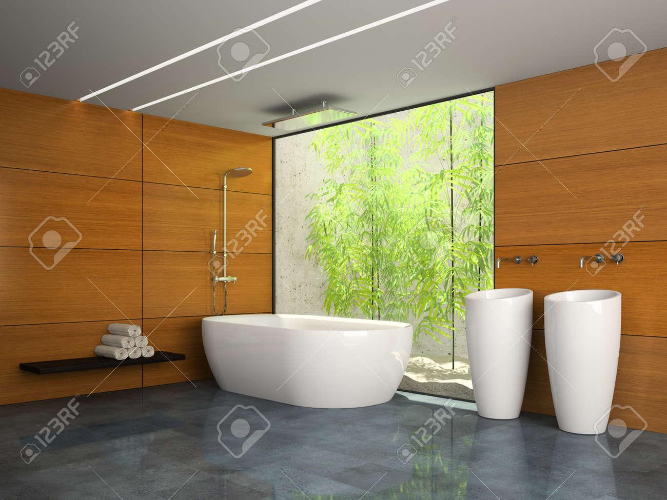 Salle De Bain Avec Bois intérieur de la salle de bain avec mur en bois rendu 3d