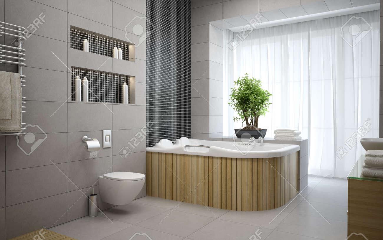 Interior of the modern design  bedroom 3D rendering Stock Photo - 57655212