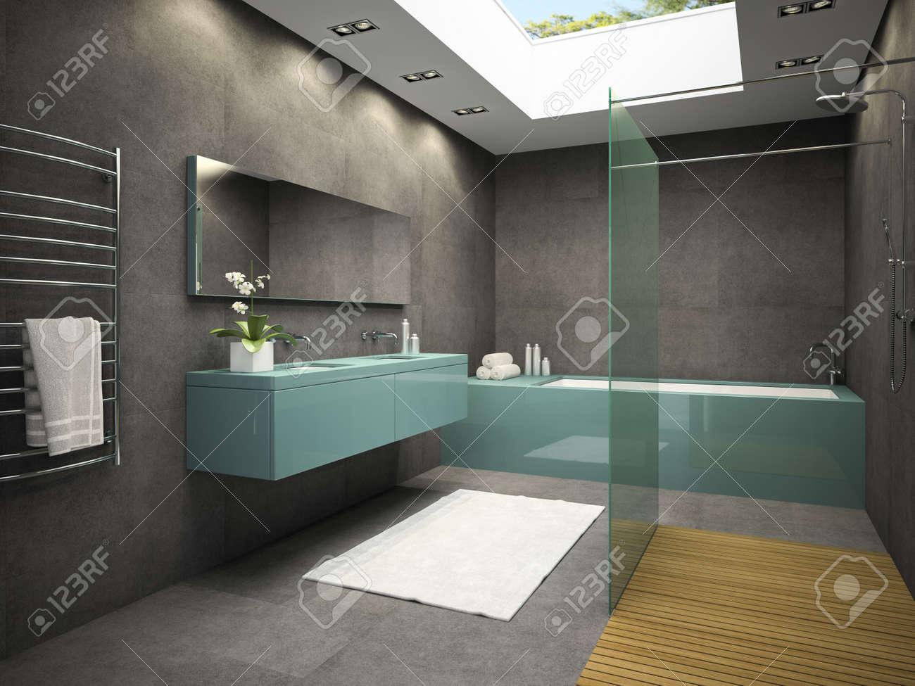 Fenetre Salle De Bain intérieur de salle de bains avec fenêtre de plafond rendu 3d