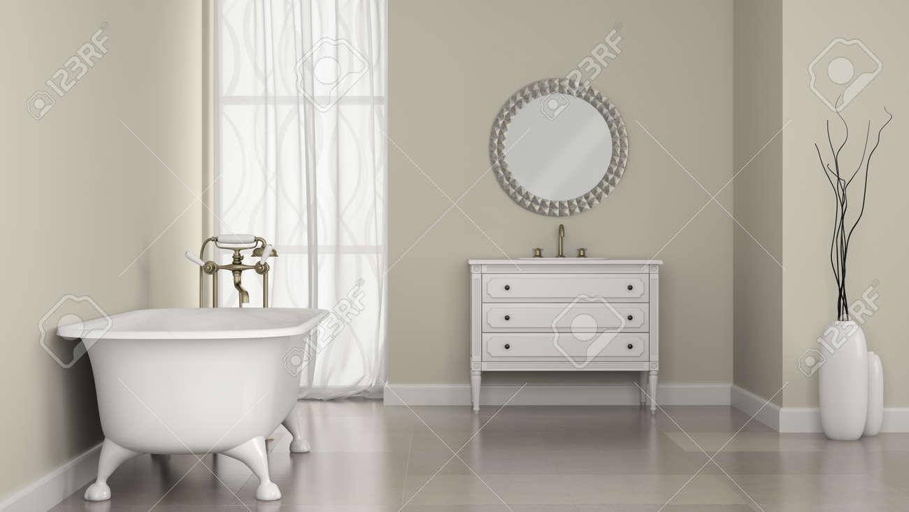 banque dimages intrieur de salle de bain classique avec miroir rond et vases rendu 3d - Salle De Bain Classique