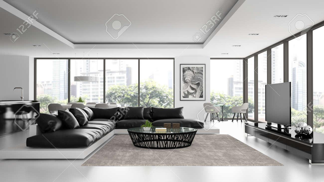 Intérieur du loft design moderne avec un canapé noir rendu d