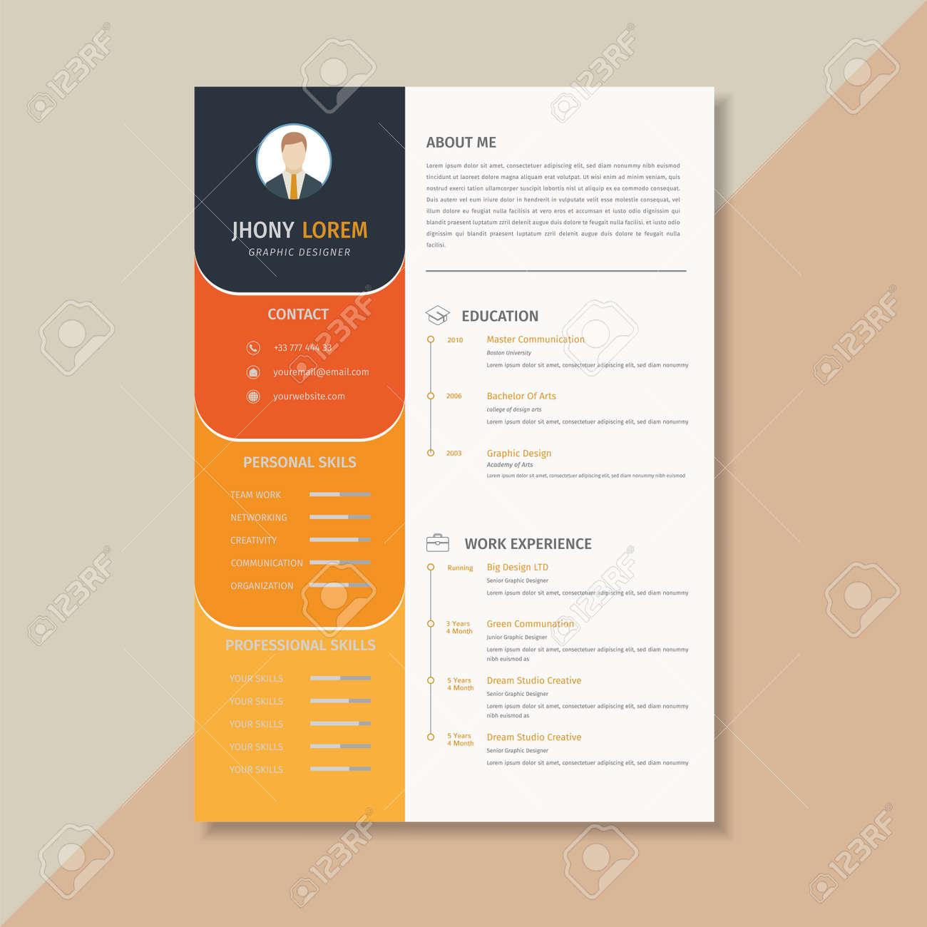 Creative Resume Template Cv Orange And Yellow Combination