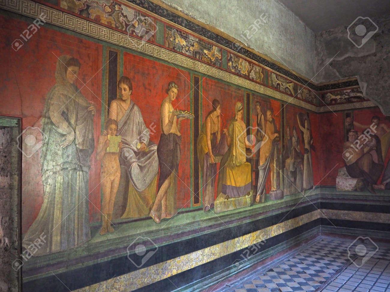 Fresque Murale Dans La Maison De Pompéi Villa Des Mystères Avant 79 Ce