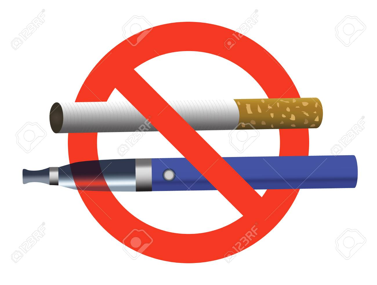 Blue e-cigarette and cigarette in red circle realistic vector illustration. No smoking, no vaping sign. - 90303413
