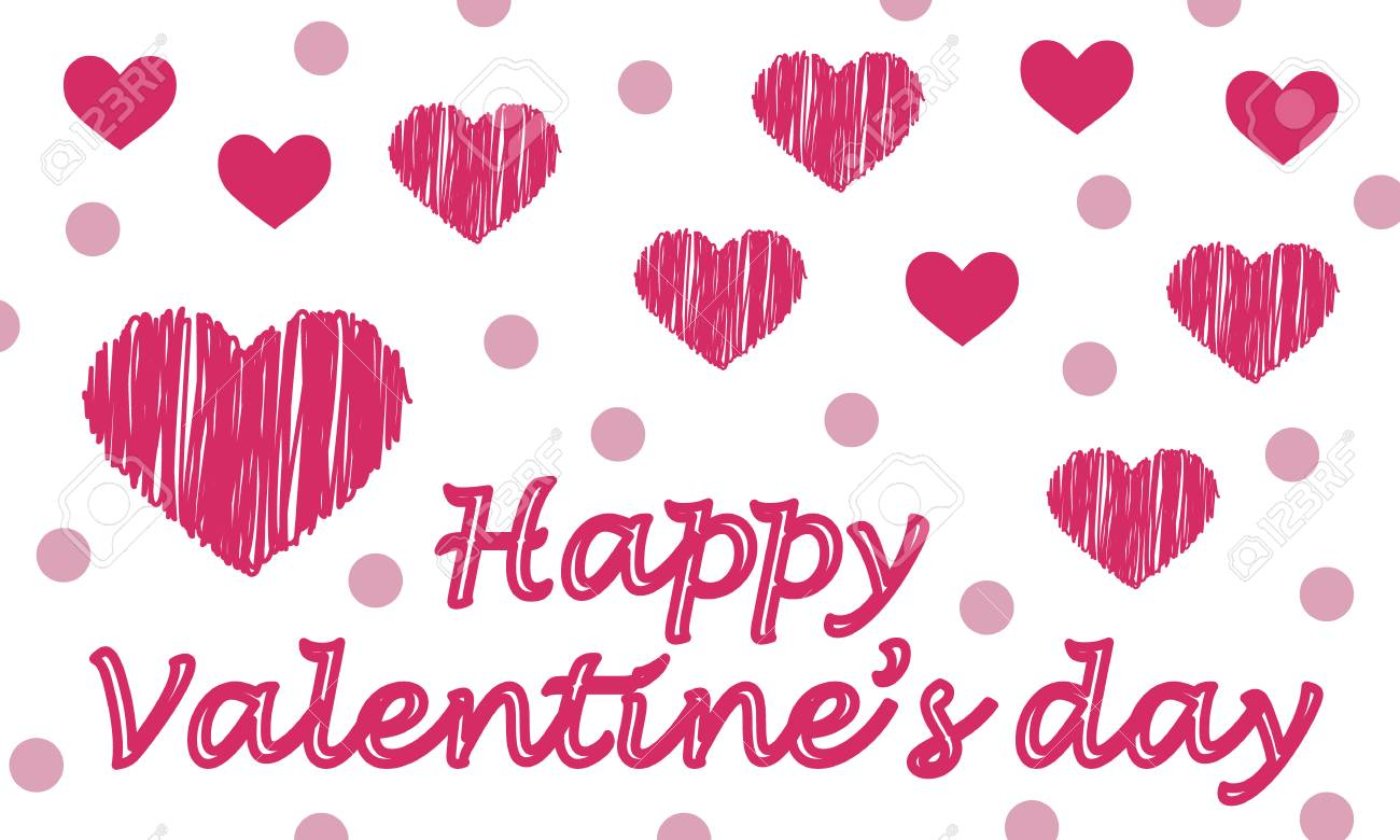 Cute Valentines Greeting Card With Red Heart And Pink Dots And