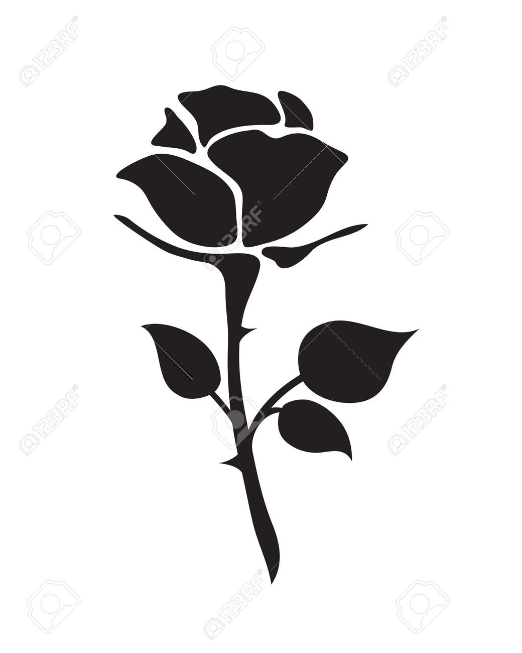 3be376441 simple flat black rose vector hand drawn romance flower icon illlustration  vintage style isolated on white