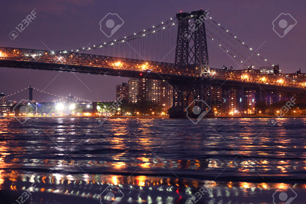 Williamsburg Bridge At Night Time Seen From East River Park