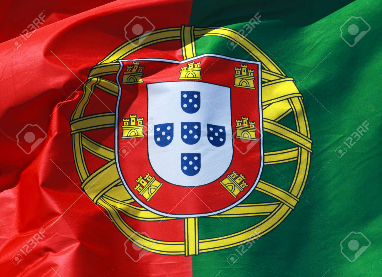 Close-up Of A National Flag Of Portugal Stock Photo, Picture And Royalty  Free Image. Image 17481697.