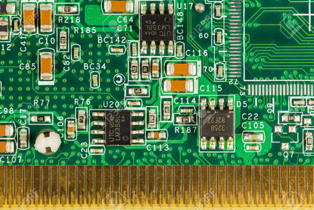 green circuit board with elements stock photo picture and royalty rh 123rf com