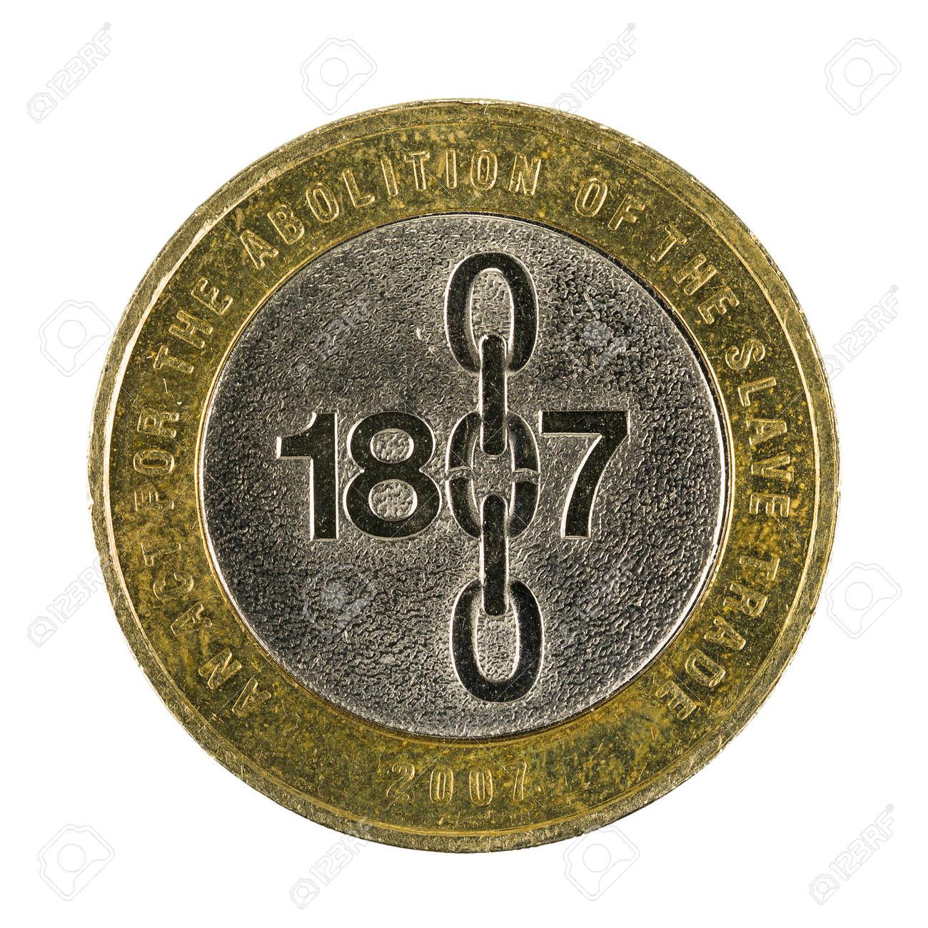 Zwei Britische Pfund Münze 2007 Isoliert Auf Weißem Hintergrund