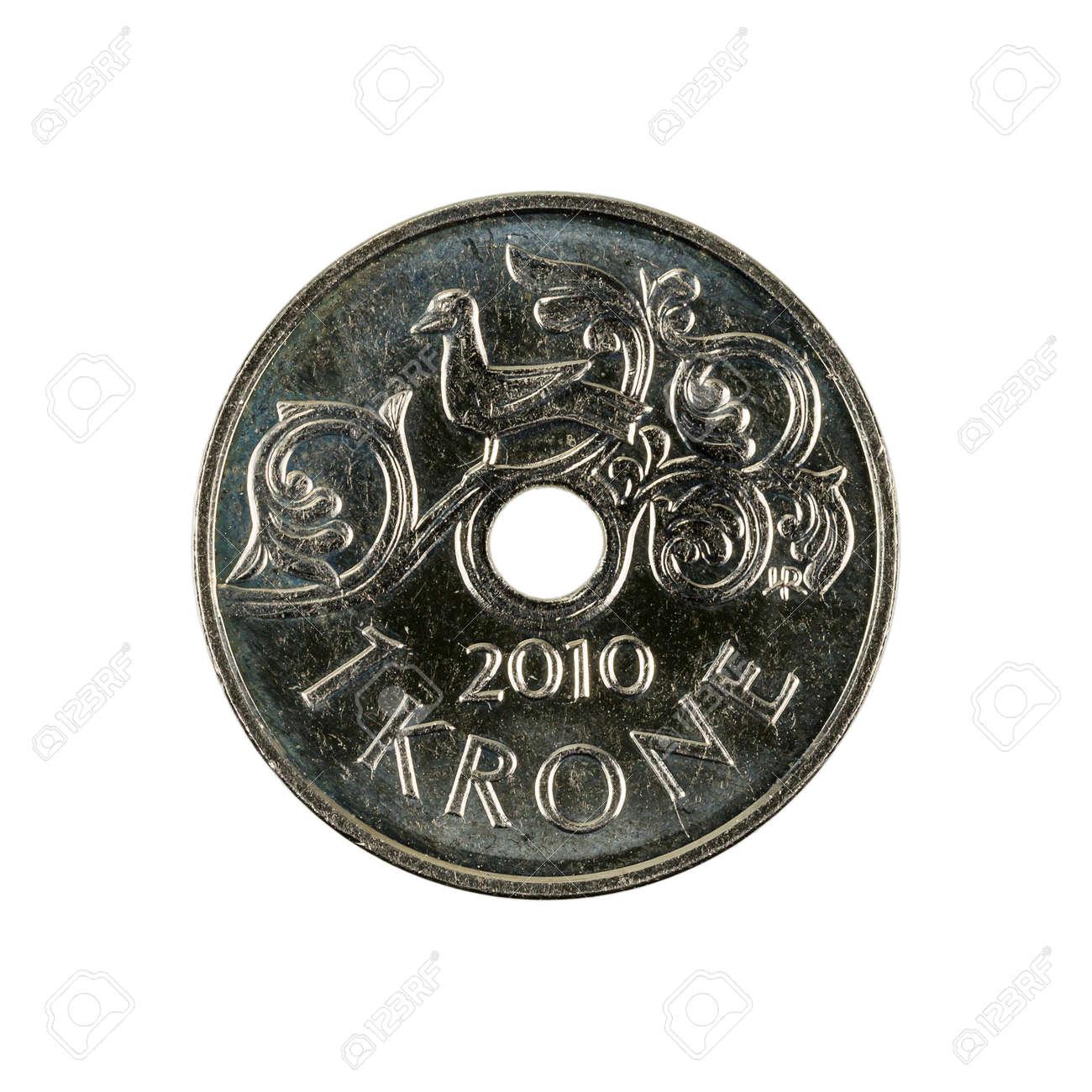 Eine Norwegische Kronen Münze 2010 Isoliert Auf Weißem Hintergrund