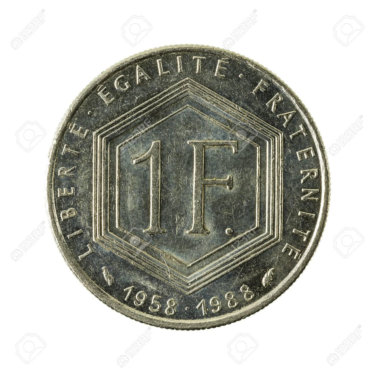 1 Französische Franc Münze 1988 Vorderseite Isoliert Auf Weißem
