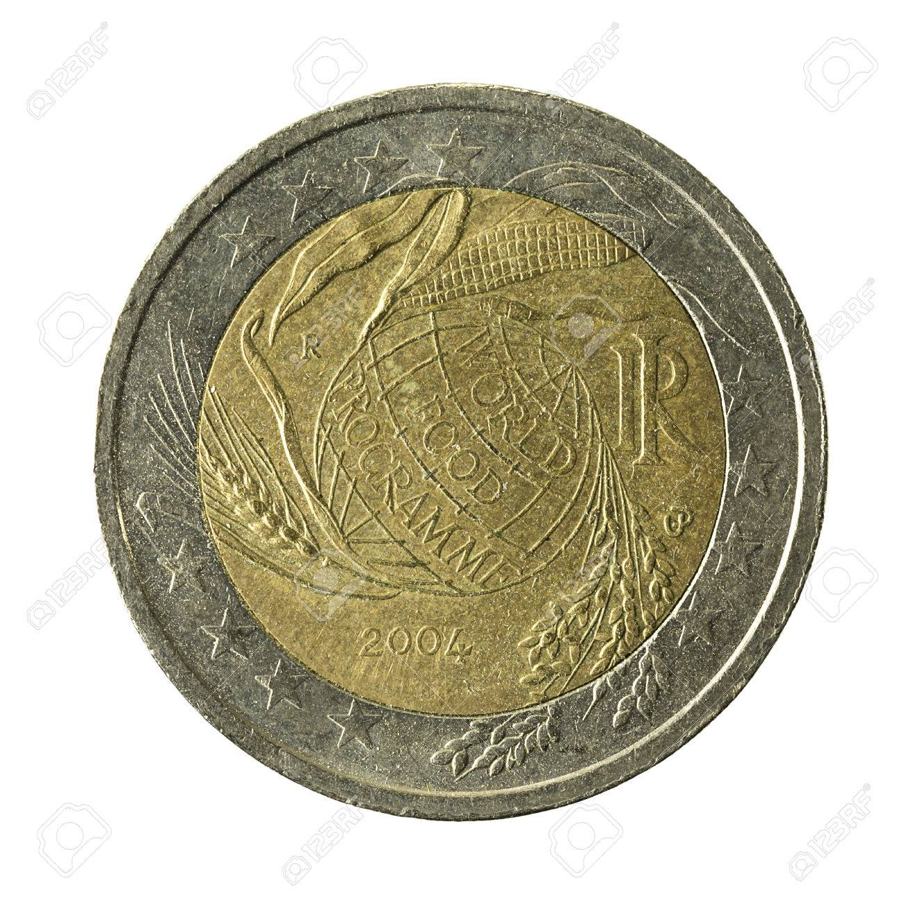 2 Euro Coin Italy World Food Programme Isolated On White Background Stock Photo Picture And Royalty Free Image Image 72550802