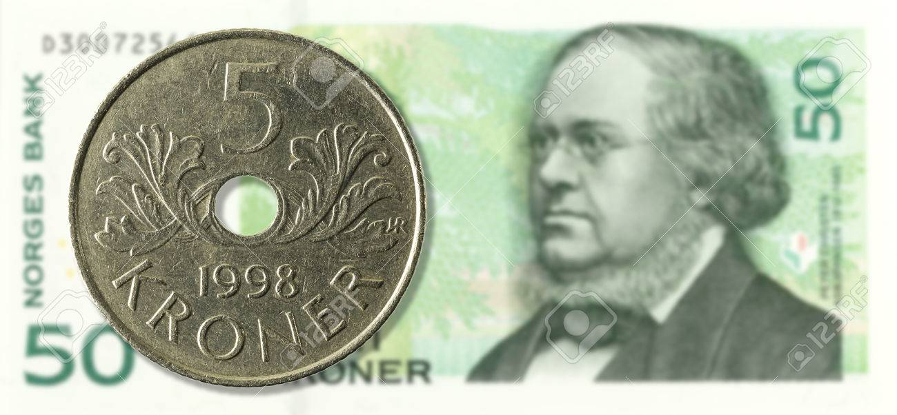5 Norwegische Krone Münze Gegen 50 Norwegische Krone Bank Note