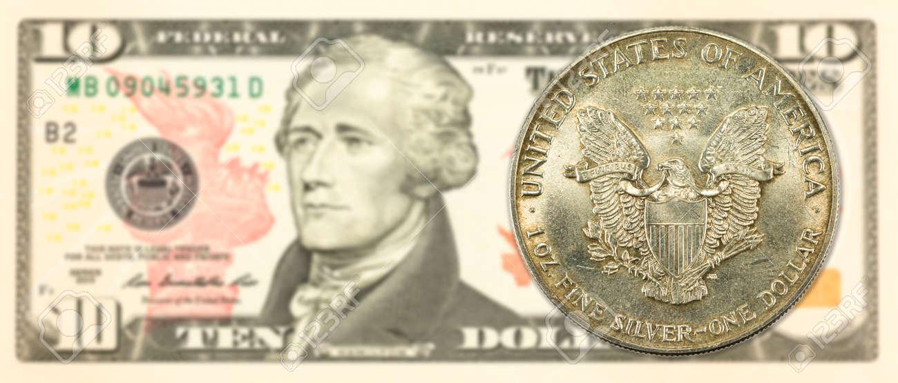 1 Vereinigte Staaten Silber Dollar Münze Gegen 10 Us Dollar Banknote