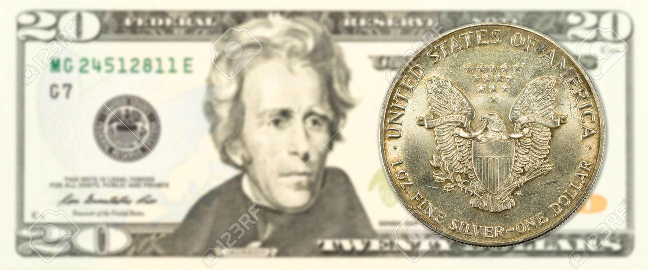 1 Vereinigte Staaten Silber Dollar Münze 20 Us Dollar Banknote
