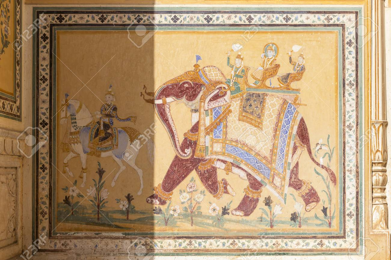 Historic Wall Painting In Nahargarh Fort Jaipur Rajasthan