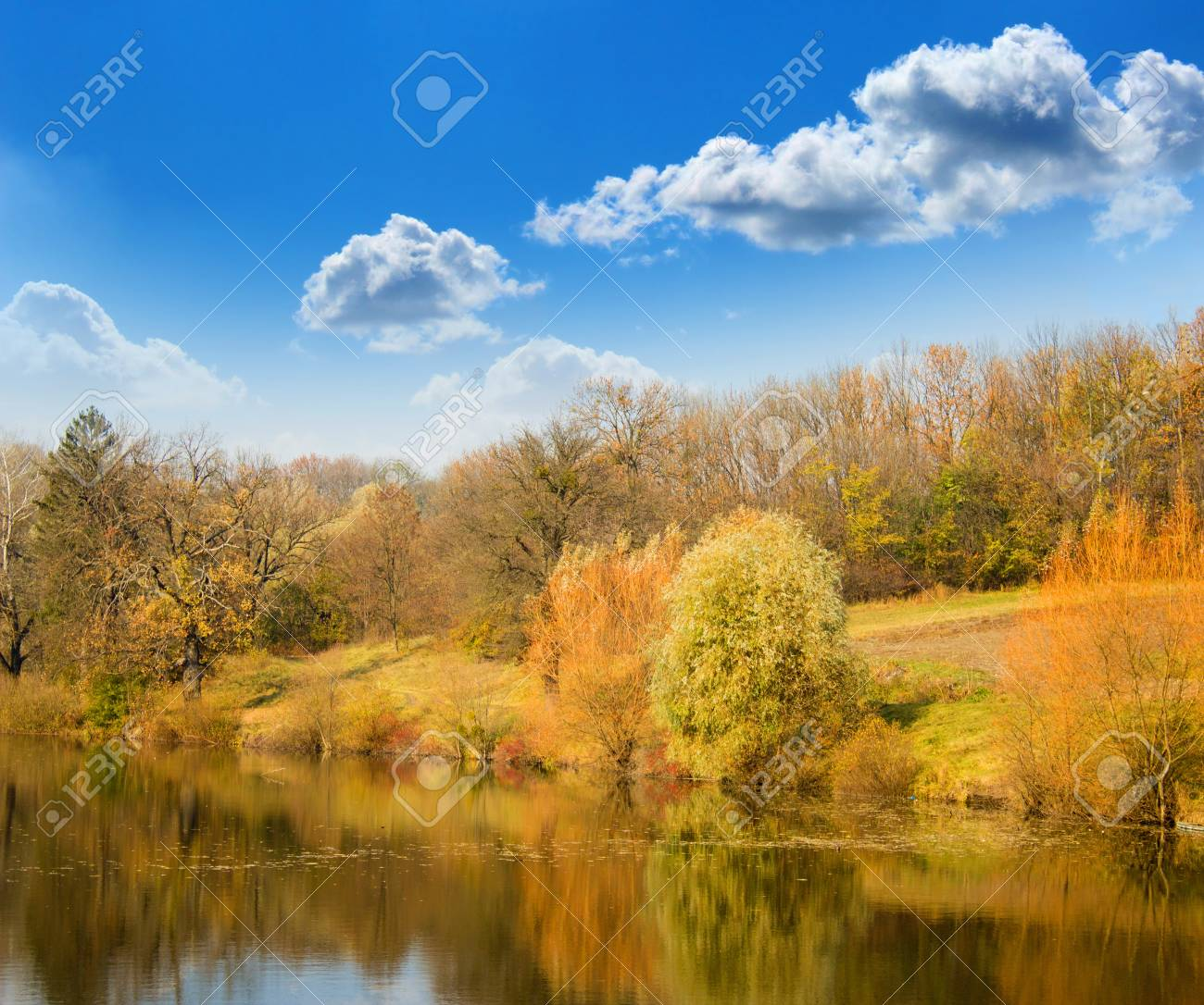 Autumn landscape on the bank of lake Stock Photo - 14692194