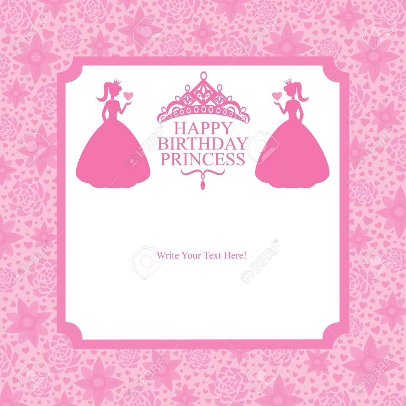 birthday princess card design royalty free cliparts, vectors, and, Birthday card