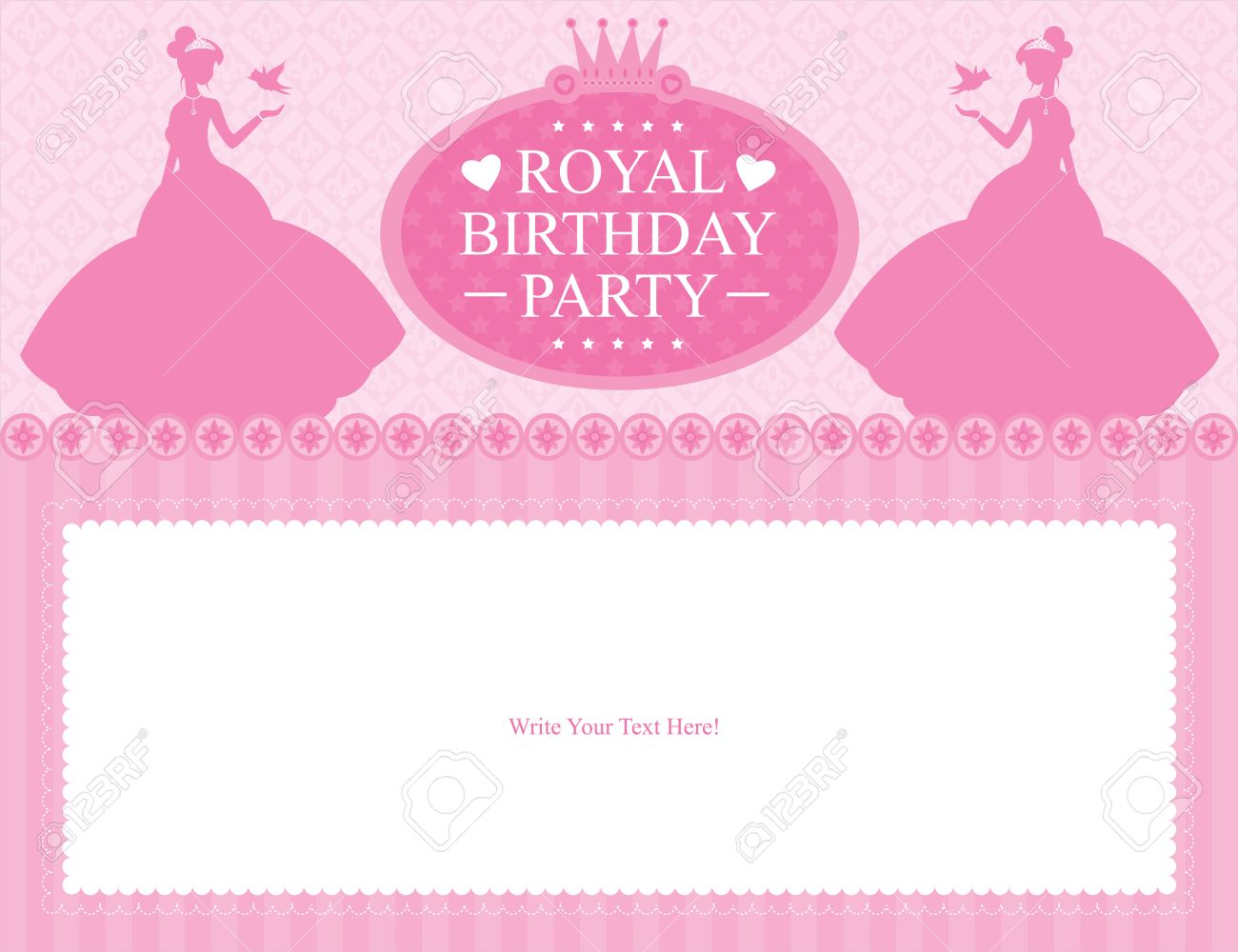 Birthday Princess Card Design Royalty Free Cliparts Vectors And