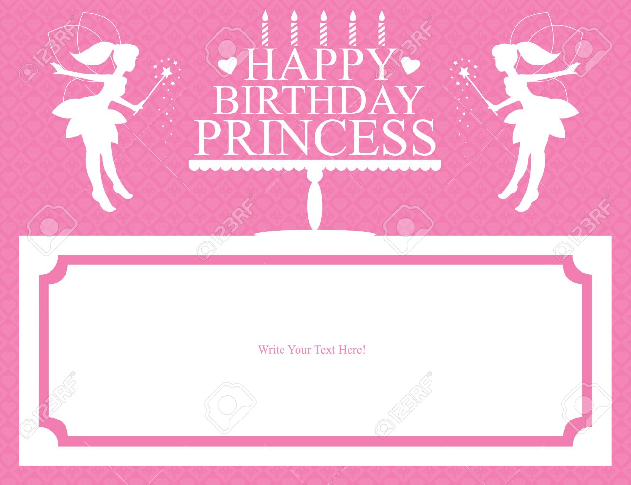 princess birthday card royalty free cliparts, vectors, and stock, Birthday card
