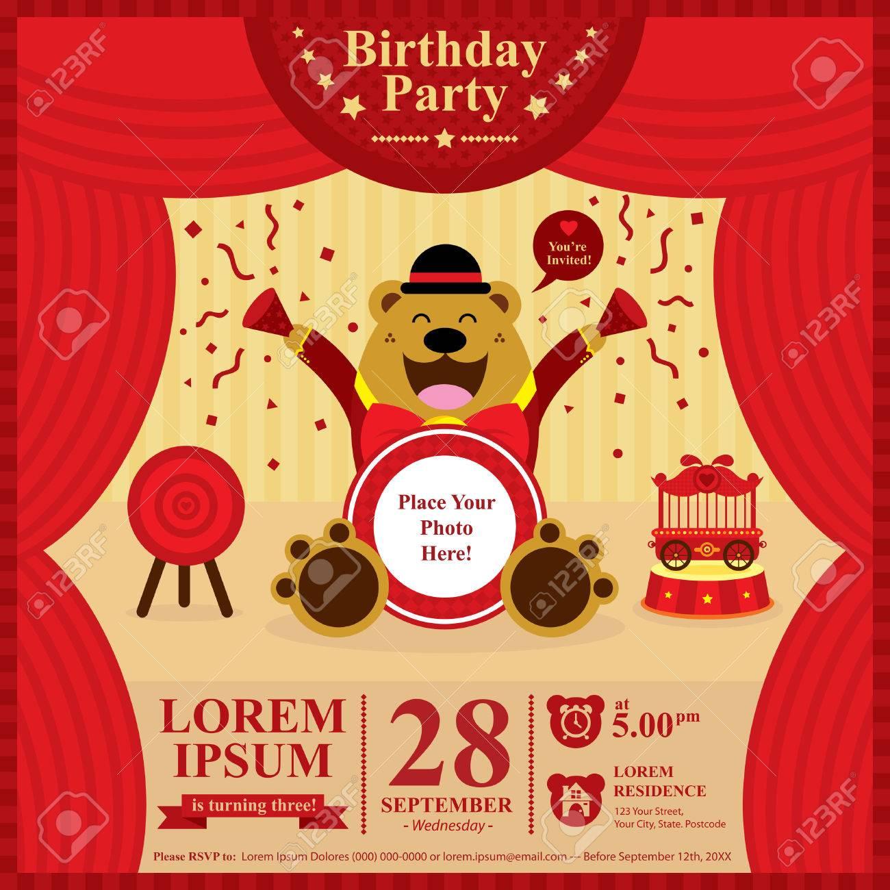 Birthday bear invitation card - 31729126
