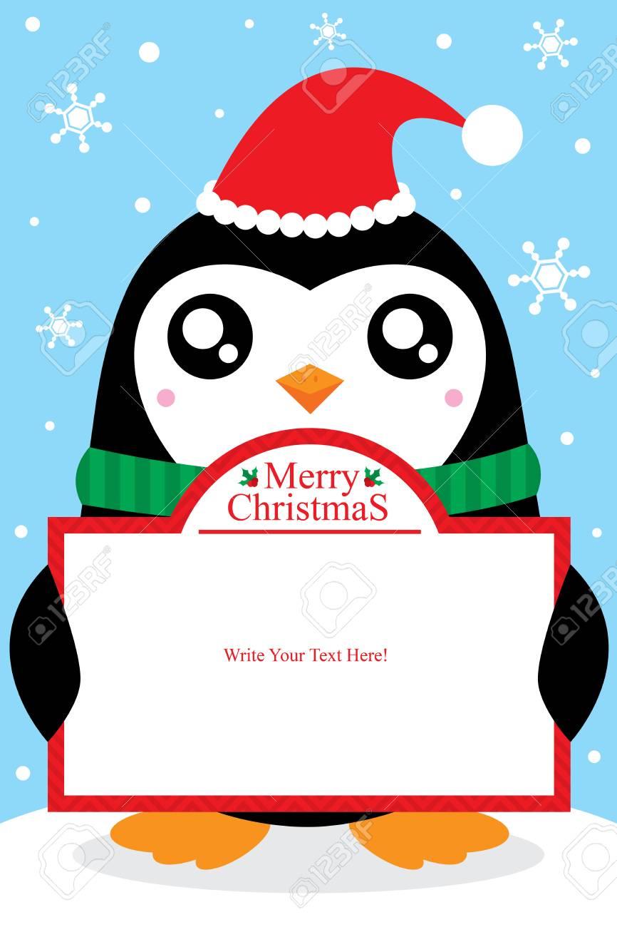 Carte De Pingouin De Noël Clip Art Libres De Droits , Vecteurs Et