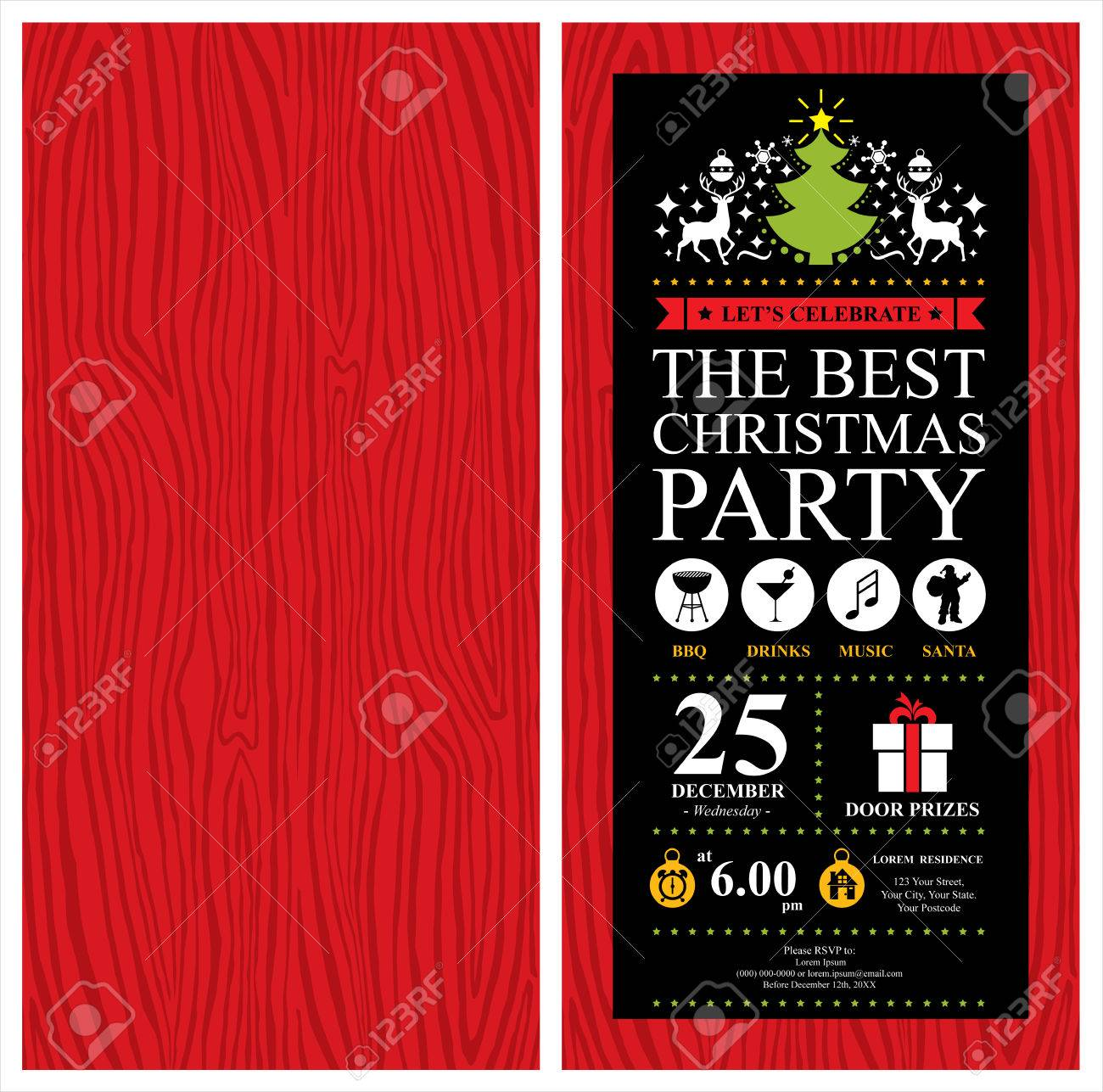 Christmas Party Invitation Card Royalty Free Cliparts, Vectors ...