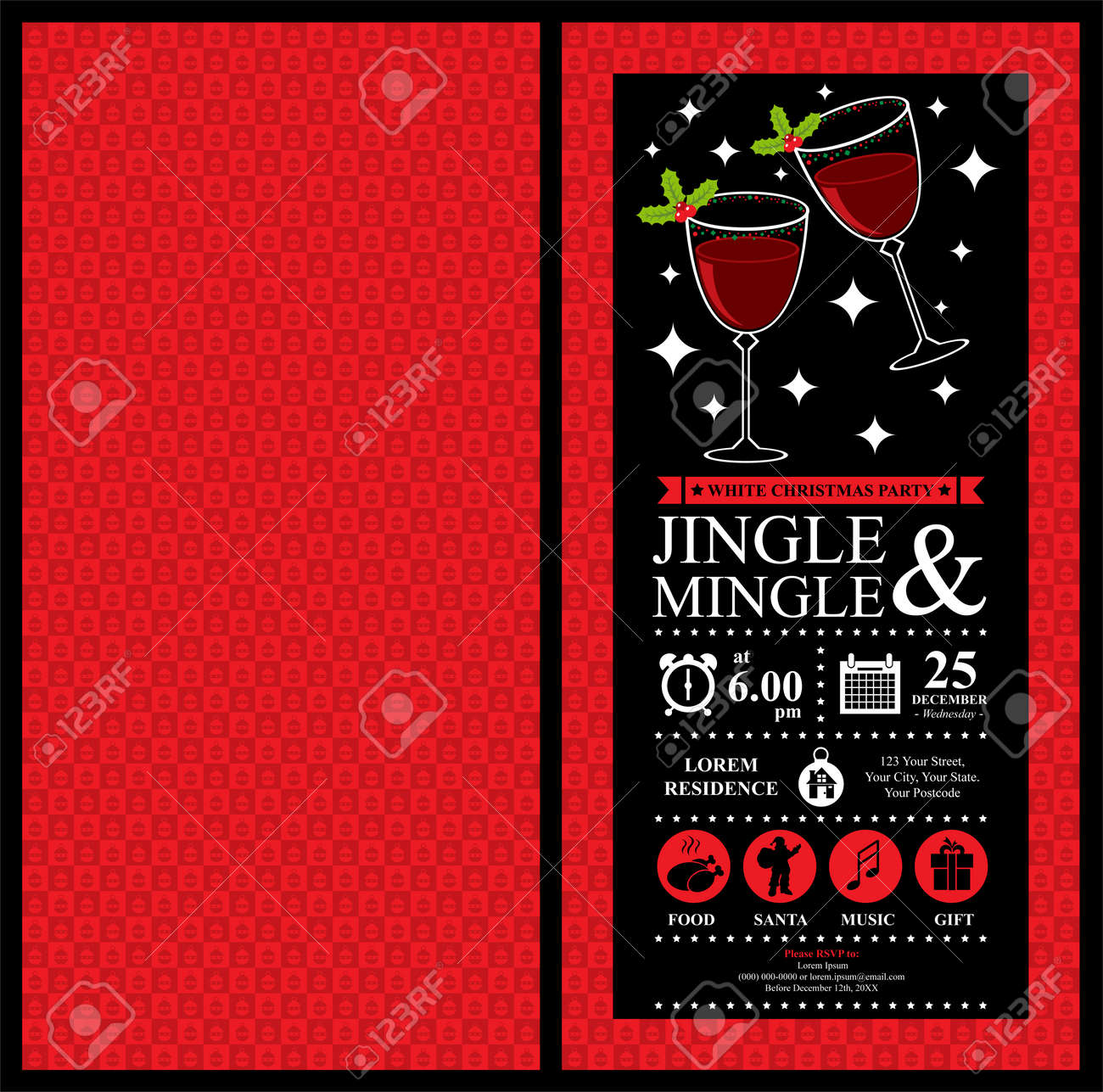 Christmas Party Invitation Card Royalty Free Cliparts, Vectors, And ...