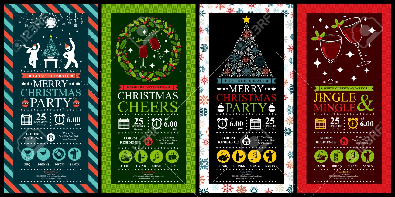 Christmas Party Invitation Card Sets Royalty Free Cliparts ...