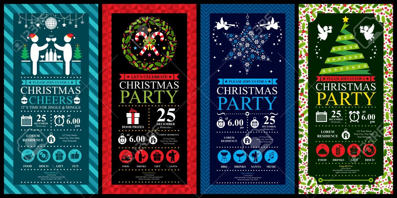 Christmas party invitation card sets - 39586003
