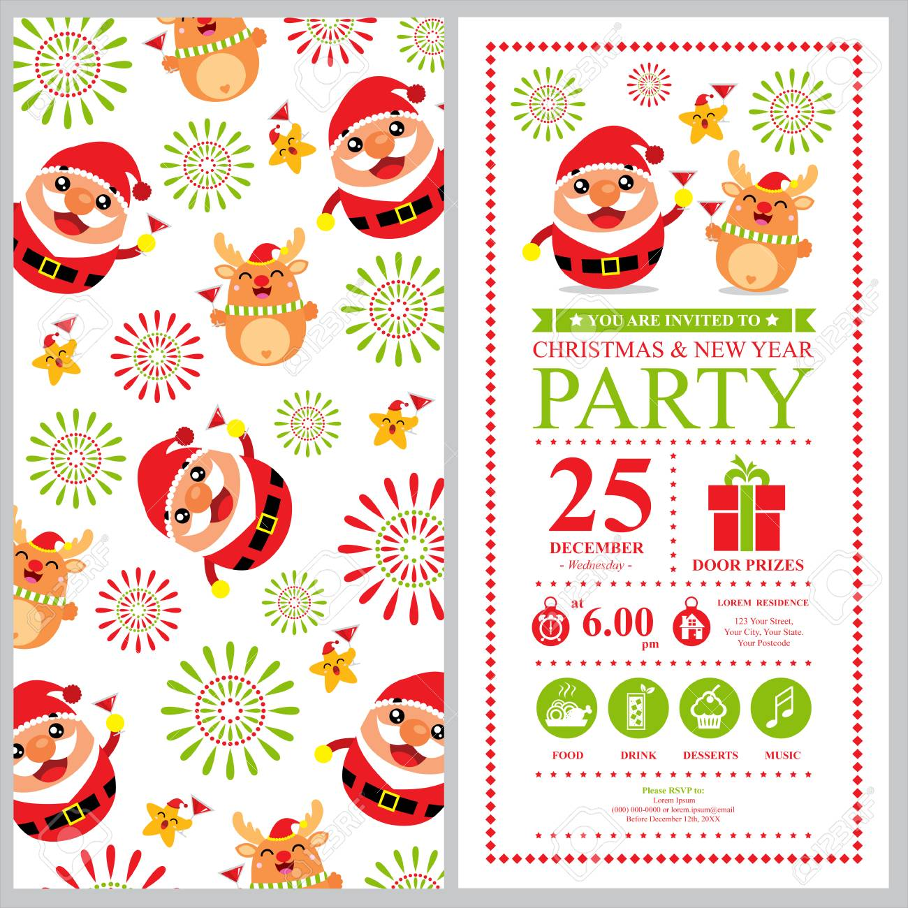 christmas and new year invitation card stock vector 46777876