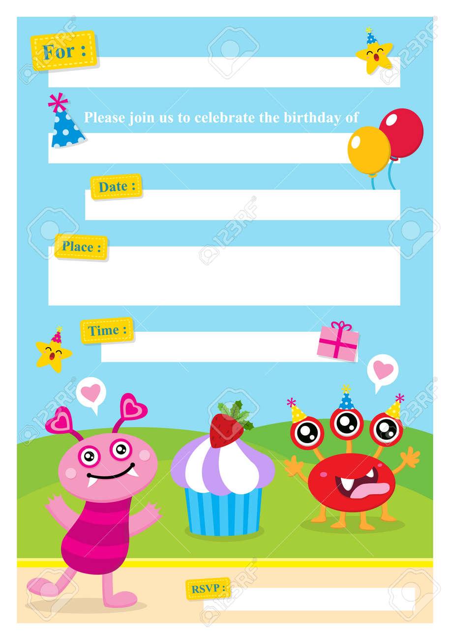 Invitación Linda Del Monstruo Tarjeta De Cumpleaños
