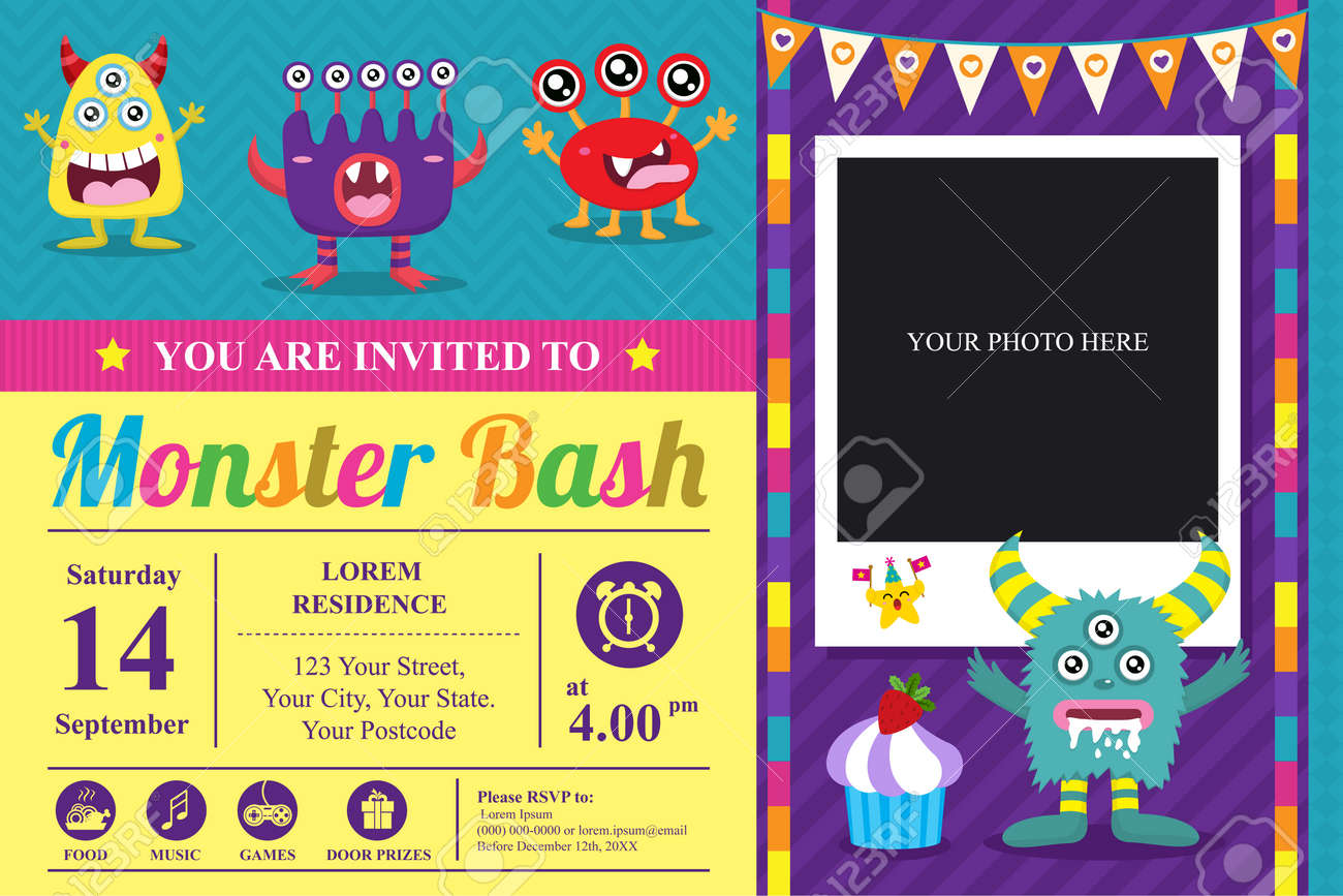 Cute Monster Invitation Birthday Card - 52958347