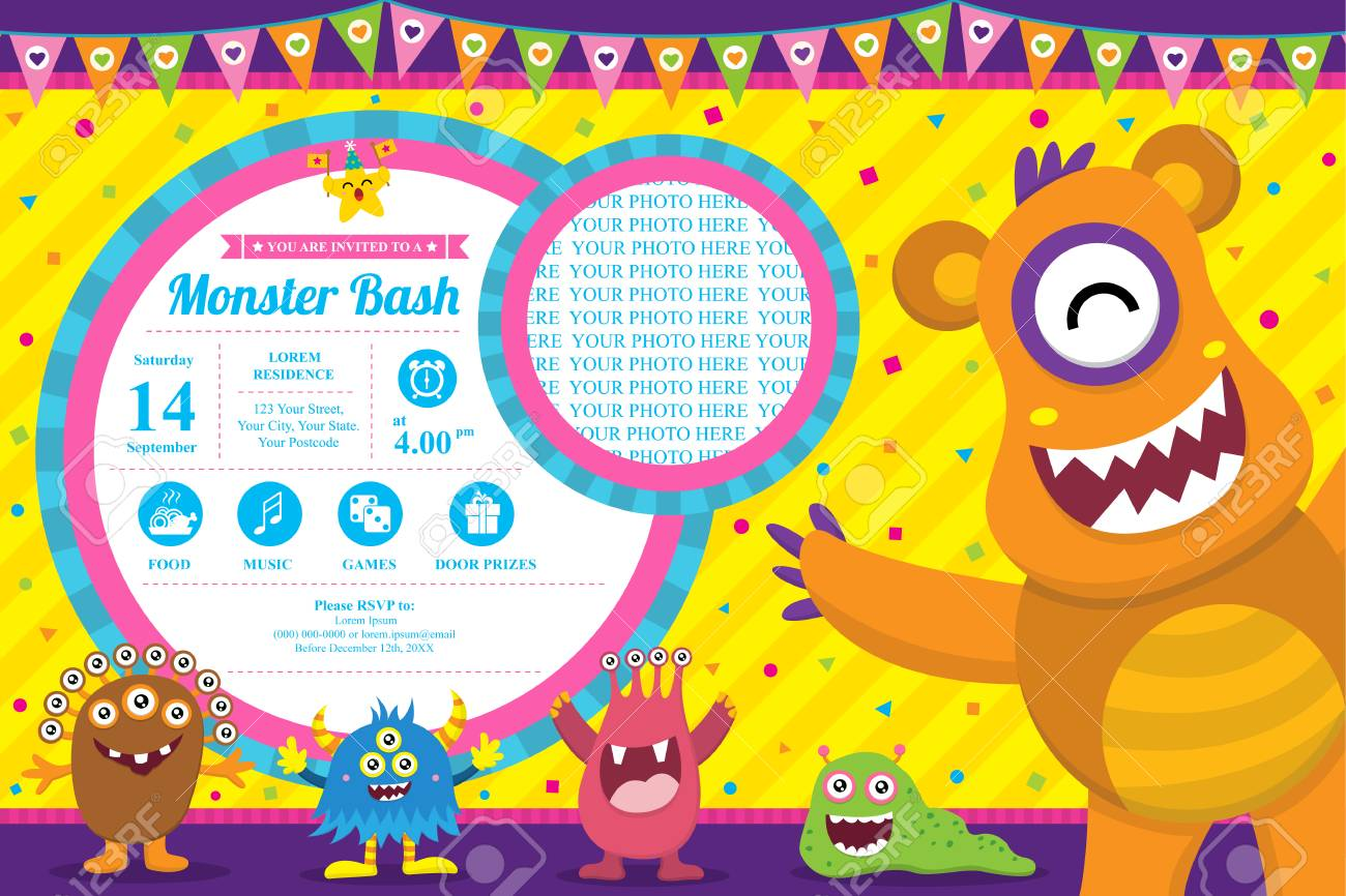 Cute Monster Invitation Birthday Card - 52958348