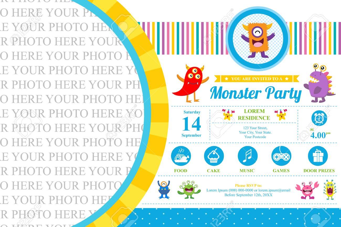 Cute Monster Invitation Birthday Card Royalty Free Cliparts, Vectors ...