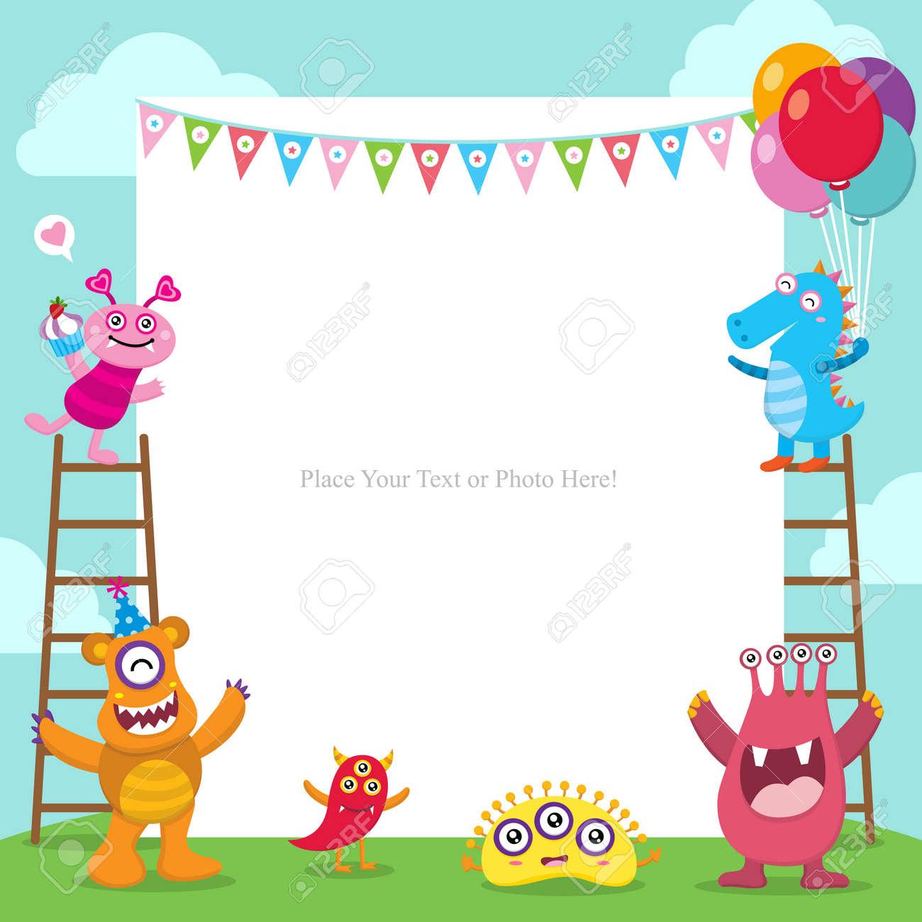 Invitación Linda De La Tarjeta De Cumpleaños De Los Monstruos
