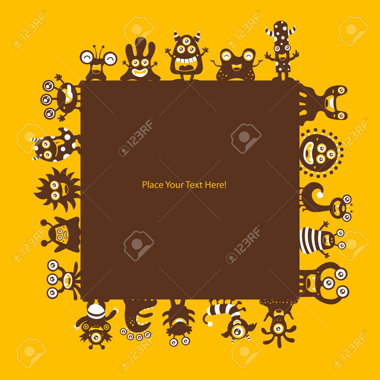Cute Monsters Template Royalty Free Cliparts, Vectors, And Stock ...