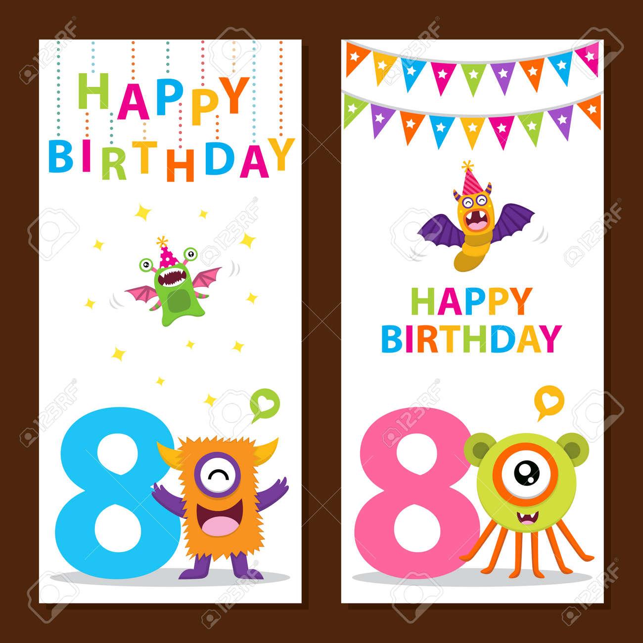 Cute Monster Birthday Card - 58506262